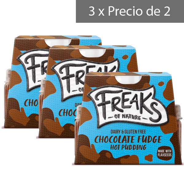 Freaks of Nature Coulant de Chocolate Tarta Vegano Postre Fudge Cremoso Pudin 100g(Pack de 3)